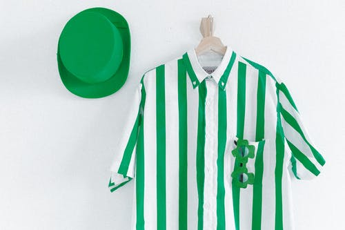 Green and White Striped Button Up Shirt