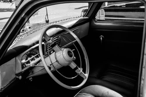 Free stock photo of big wheel, black and white, black and-white, classic car