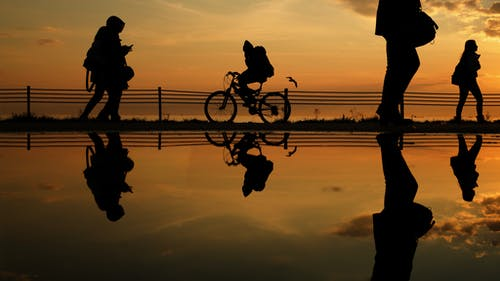 Silhouette of Man and Woman Riding Bicycle on Lake during Sunset