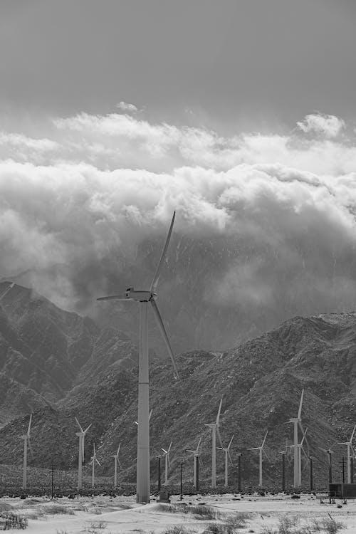 Wind Turbines Near The Mountain