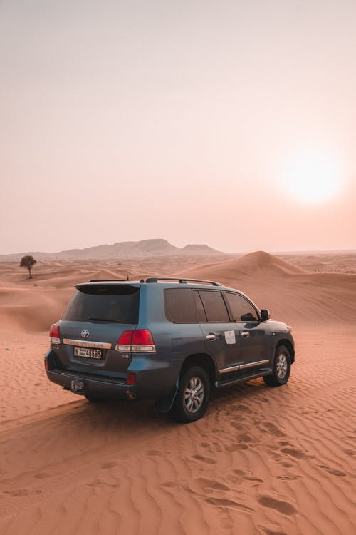 Geländewagen Auf Braunem Sand