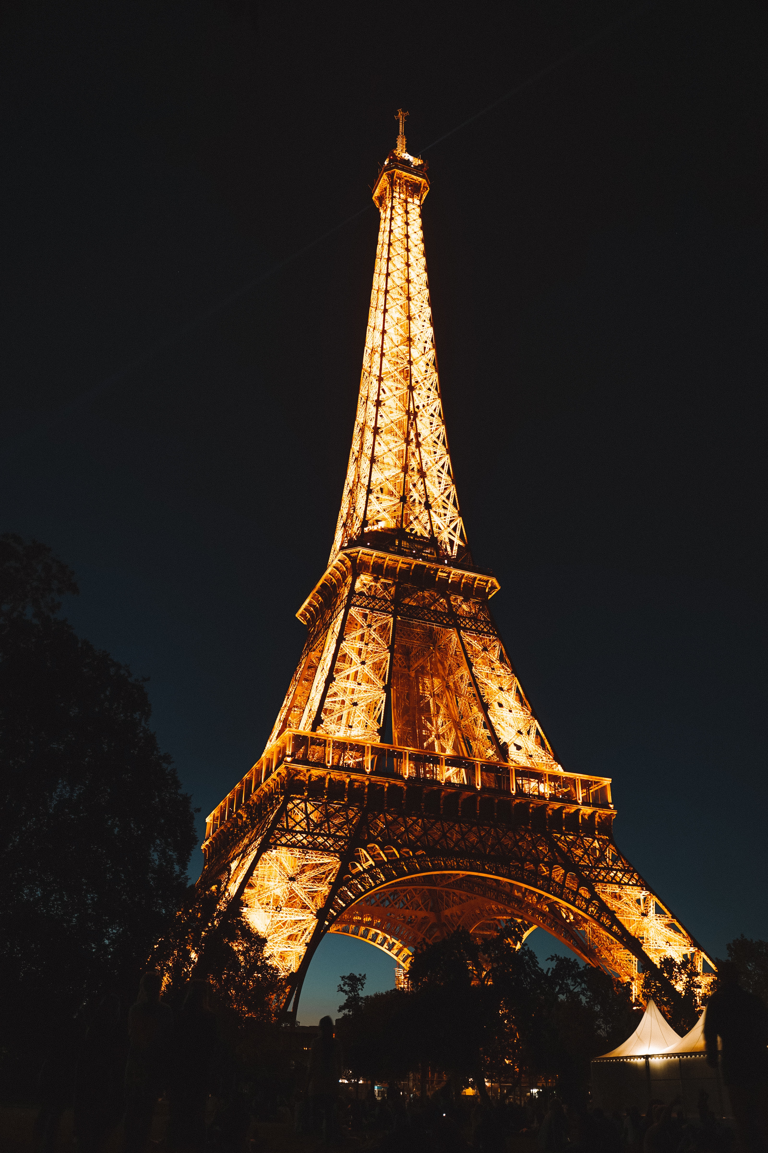 Eiffel Tower During Night Time Free Stock Photo