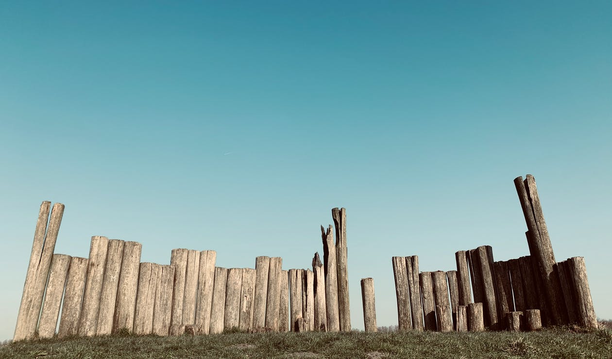 Natural wooden fence of rounded tree trunks with shabby surface and cracks on grass meadow under cloudless sky in daylight in countryside