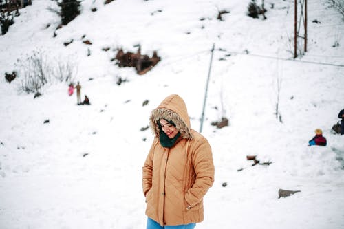 Woman in Brown Jacket Standing on Snow Covered Ground