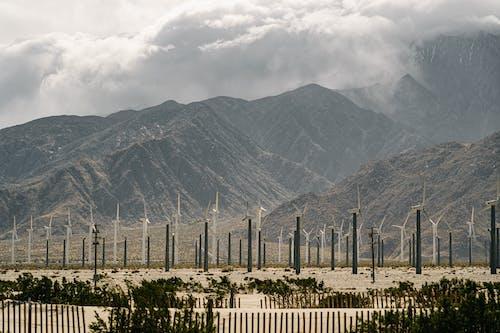 Wind Turbines Near Mountain