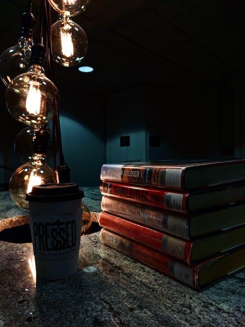 Free stock photo of beauty, books lights, brewed coffee
