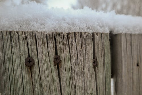 Free stock photo of snow covered, wooden details