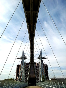 Free stock photo of bridge, ship, architecture, suspension bridge
