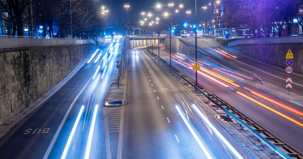 Time Lapse Photography of Vehicles during Nighttime