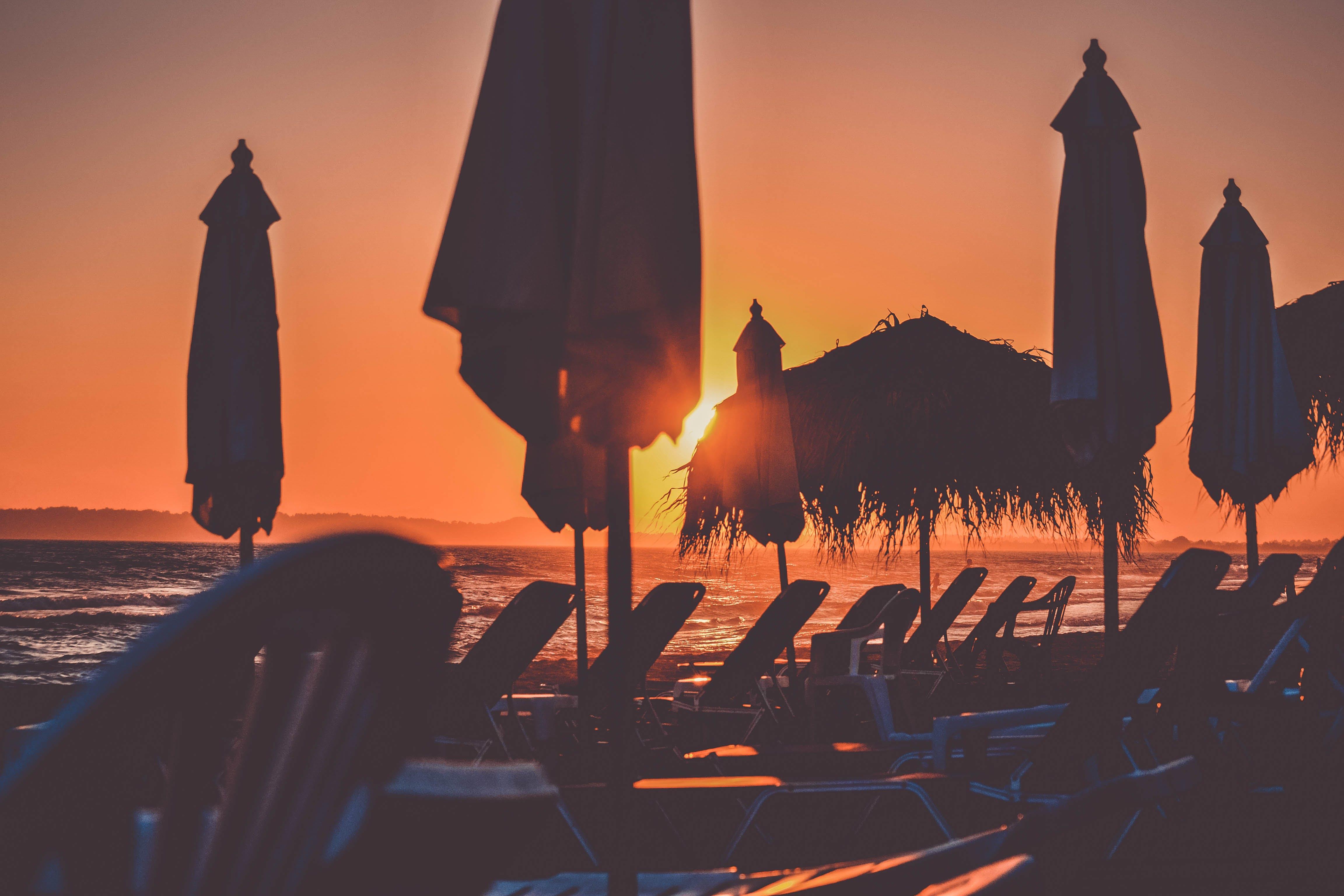 backlit, beach, beach chairs
