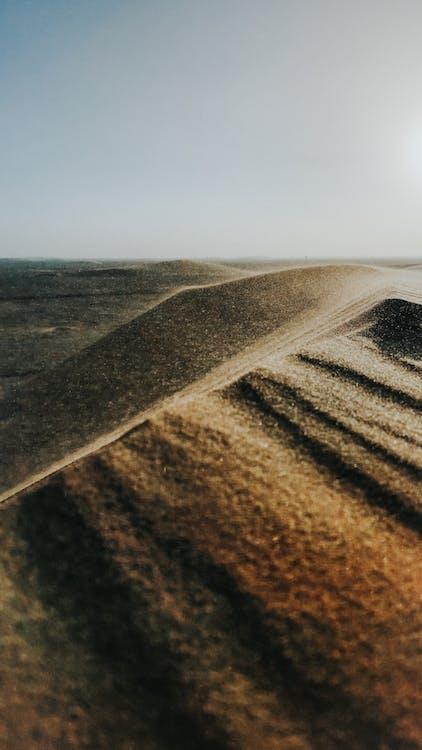 Dry sandy dunes in picturesque desert