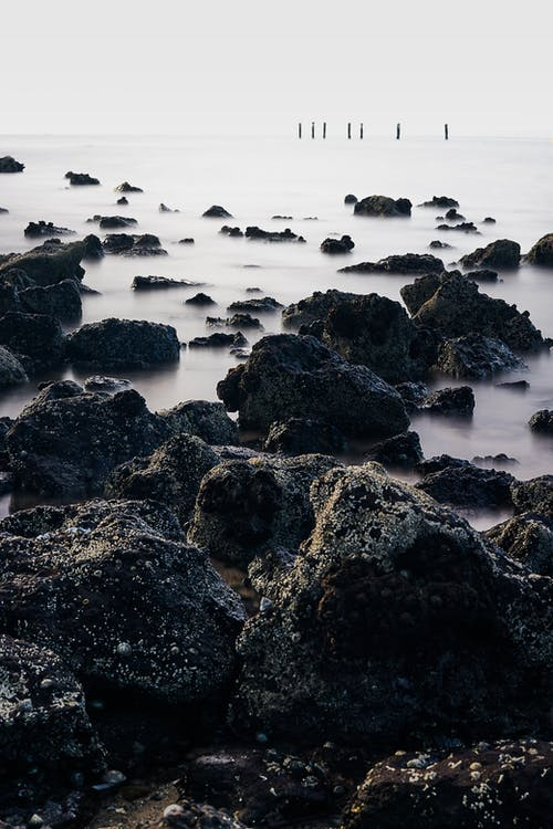 Black Rock Formations on Body of Water