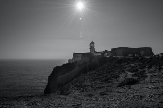 Free stock photo of black-and-white, sun, ray of sunshine, cape