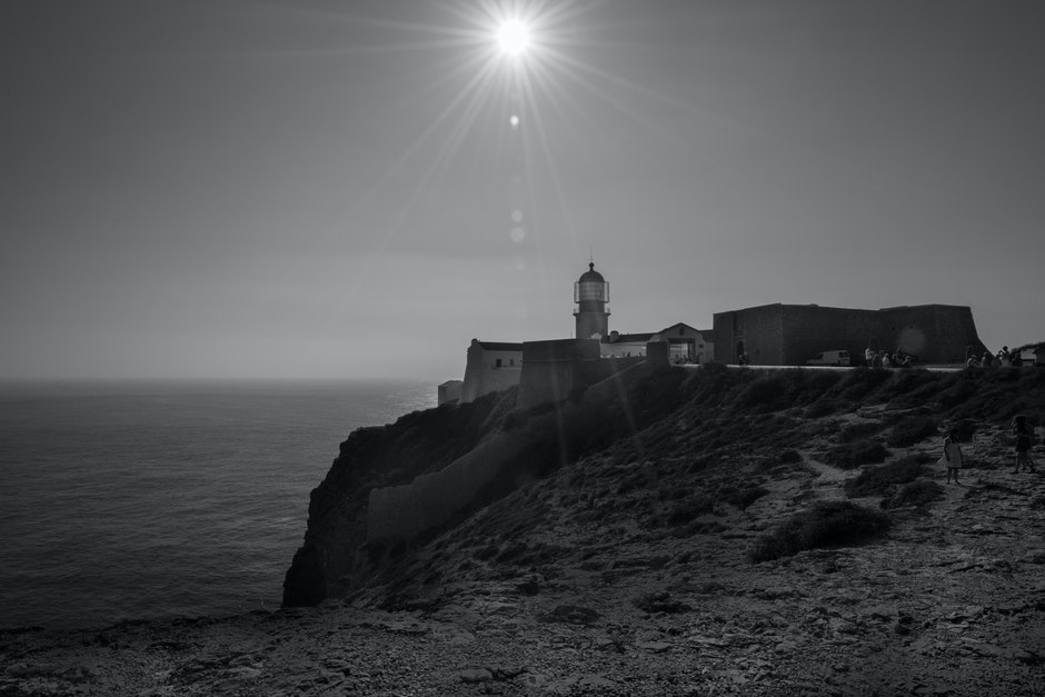 black-and-white, cape, ray of sunshine