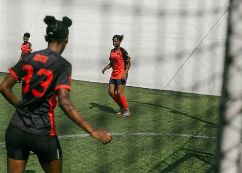 Junior women soccer team during game