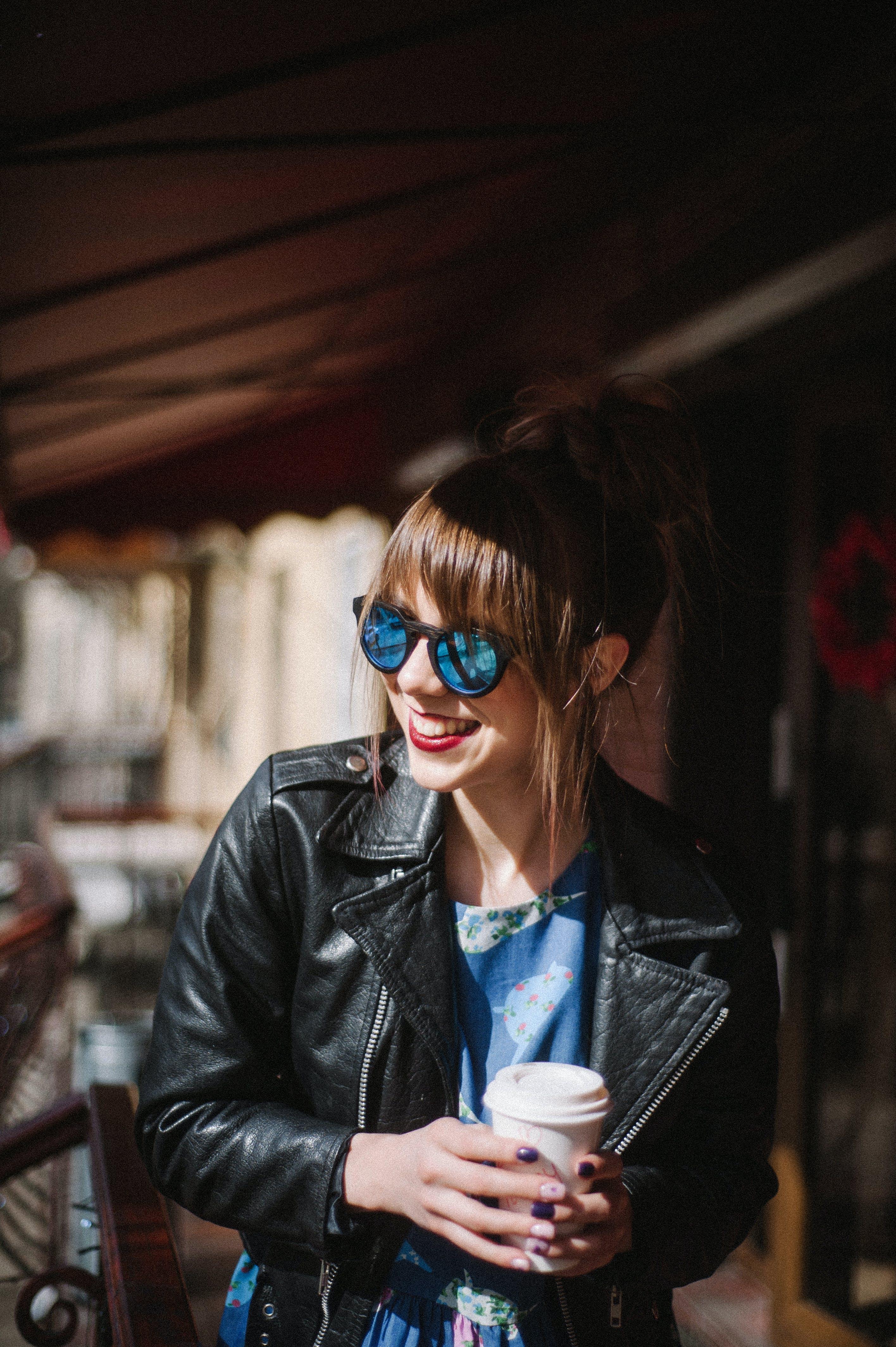 Free stock photo of eye glasses, girl, happy, jeans