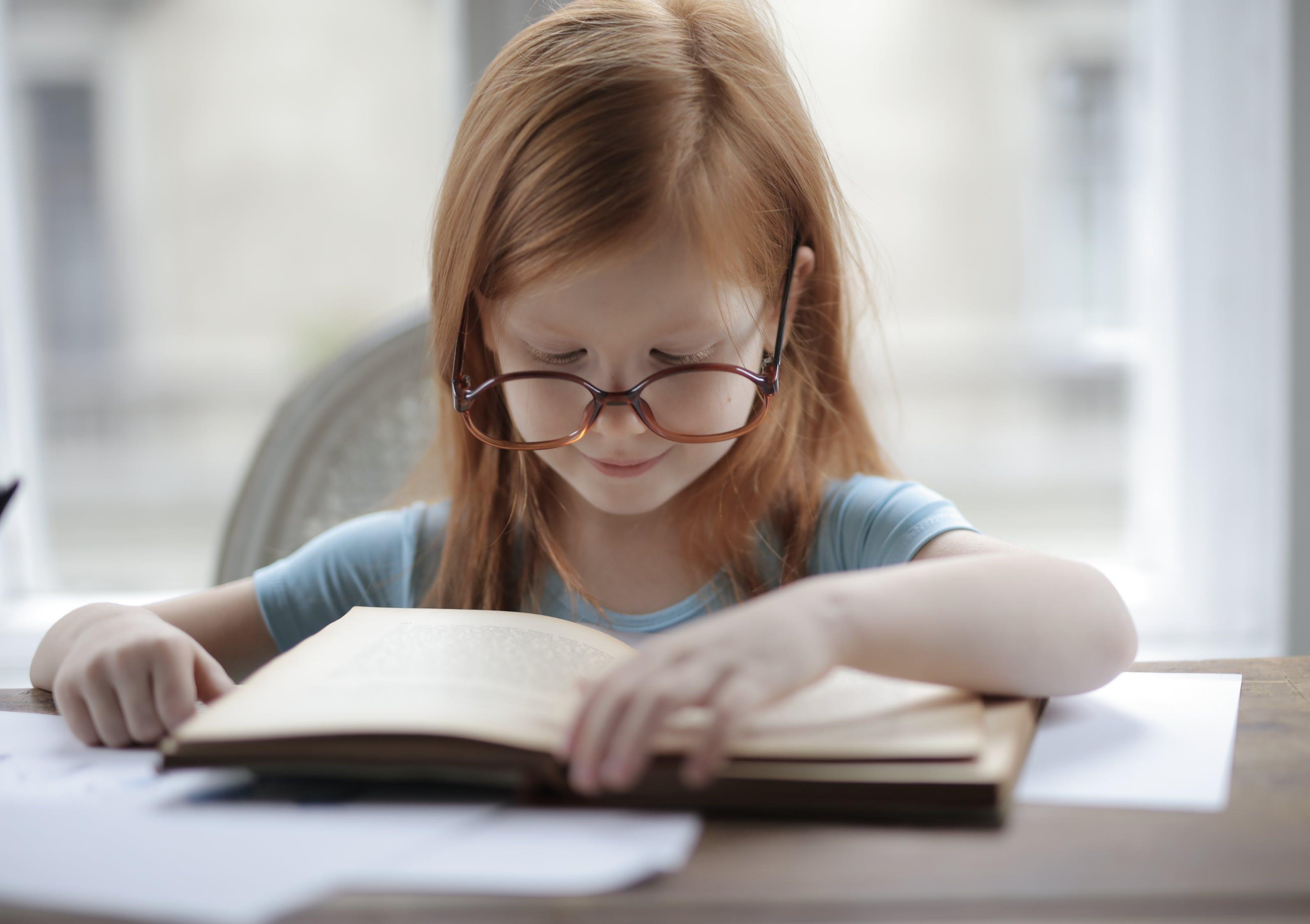 めがね, 勉強する, 女の子