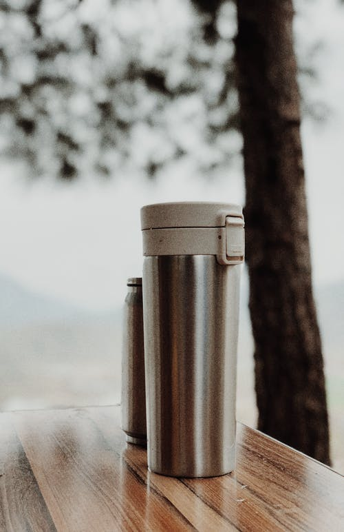 Stainless Steel Vacuum Flask on Table