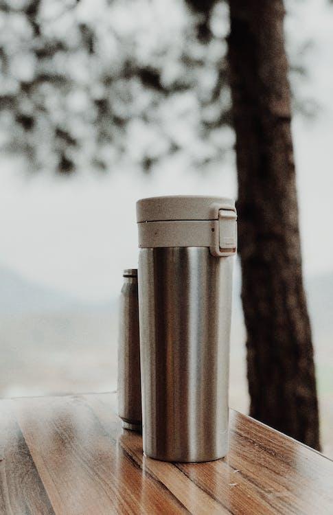 Stainless Steel Vacuum Flask on Table