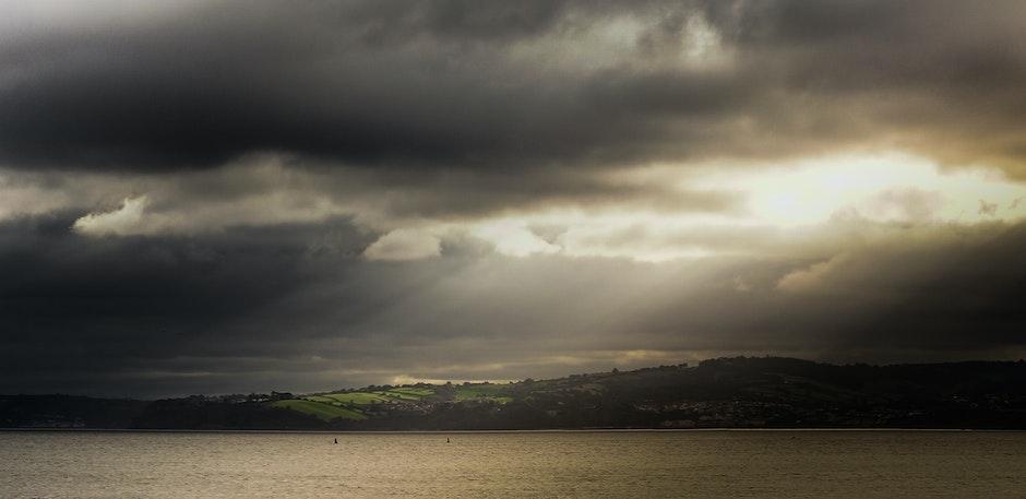 dark clouds, landscape, scenery
