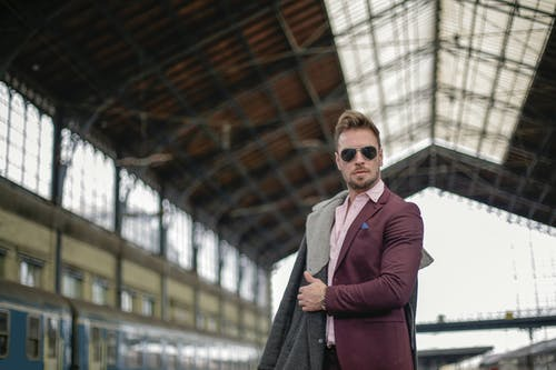 Man in Purple Blazer Wearing Sunglasses