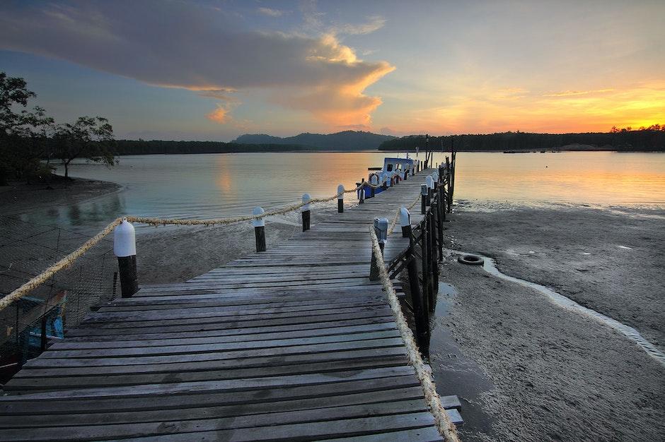 beach, boardwalk, boat