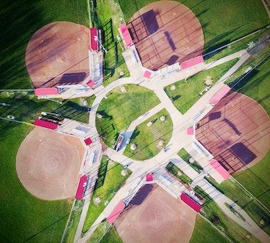 Free stock photo of aerial, softball