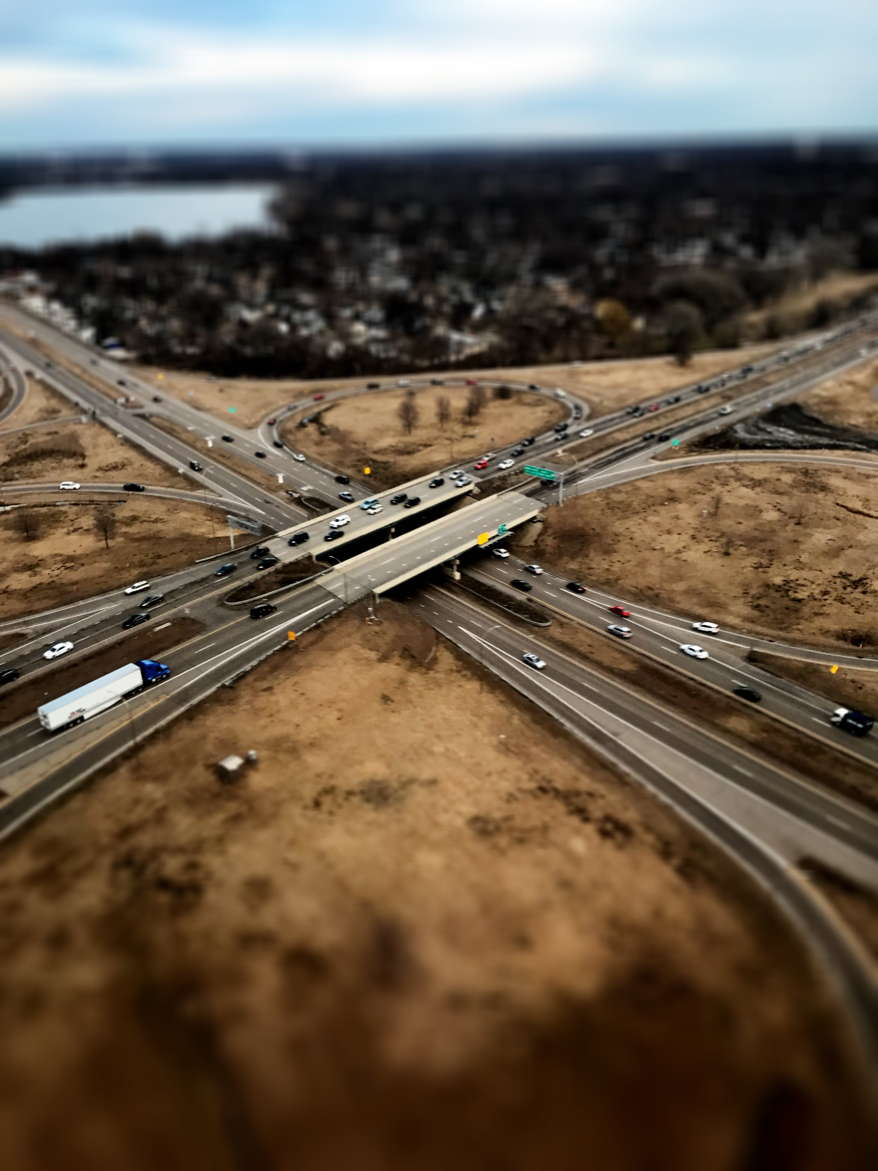 Free stock photo of highway, aerial shot