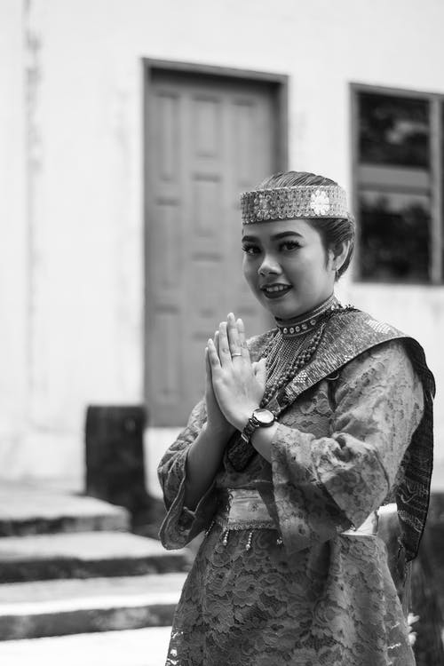 Grayscale Photo Of Woman Wearing A Costume