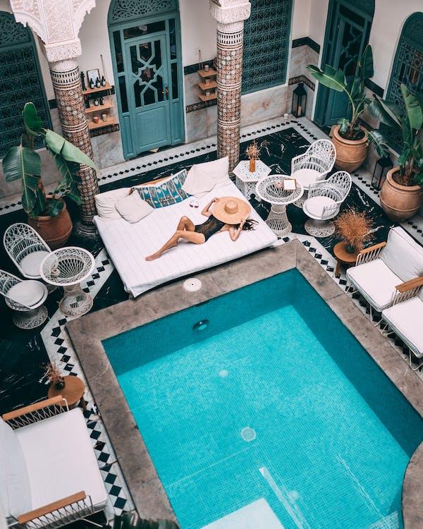 architektúra, bazén, dekorácia