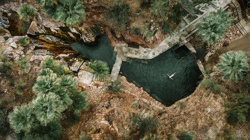 Aerial Shot Of A Person Swimming In The Pool