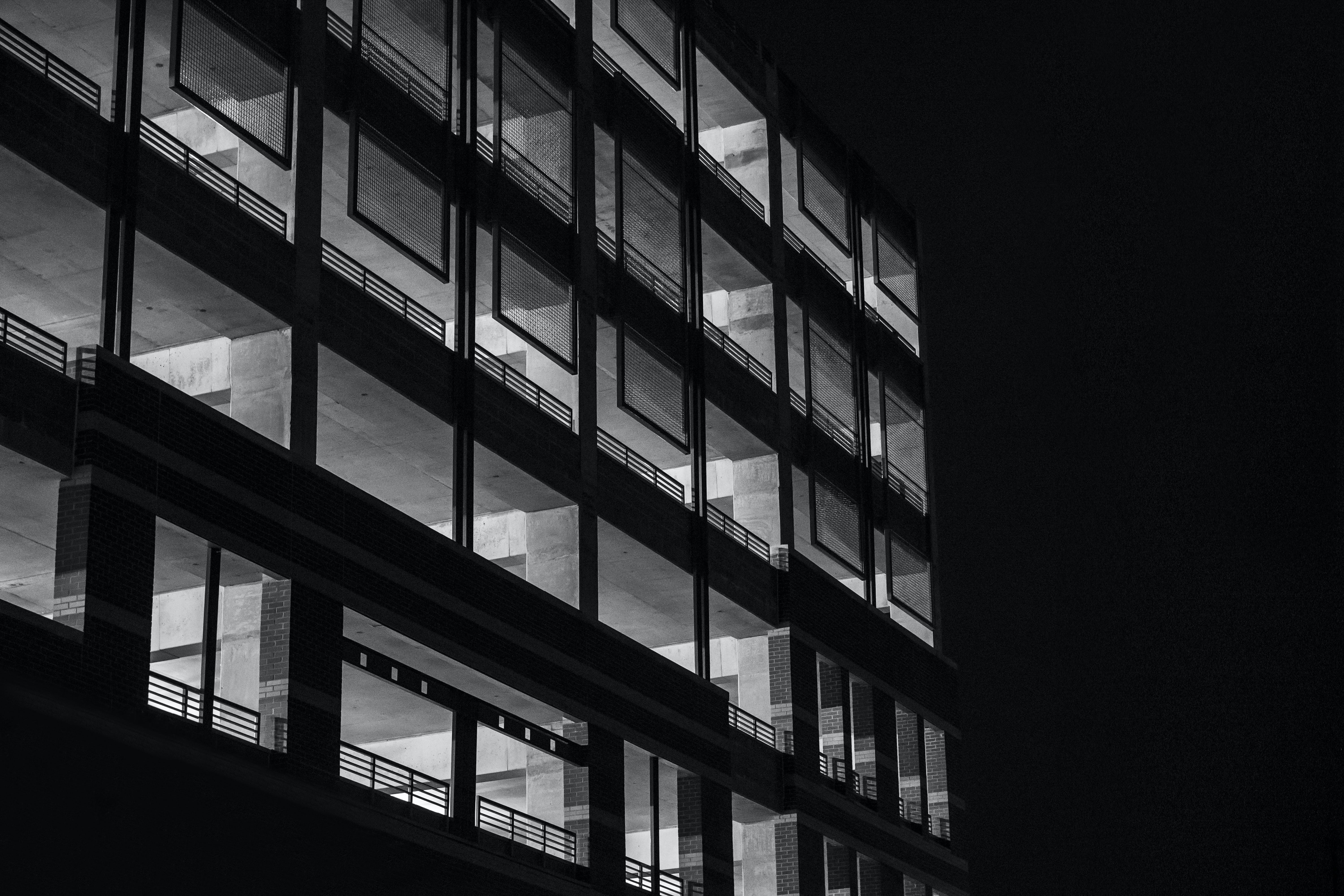black-and-white, building, dark