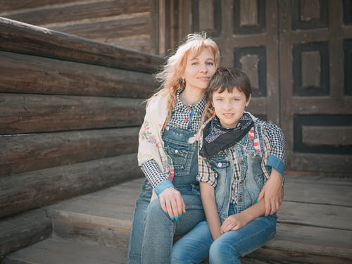 Mother And Son Wearing Denim Clothing
