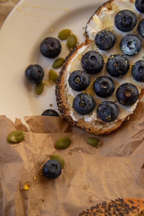 Photo Of Blueberries On Sliced Bread