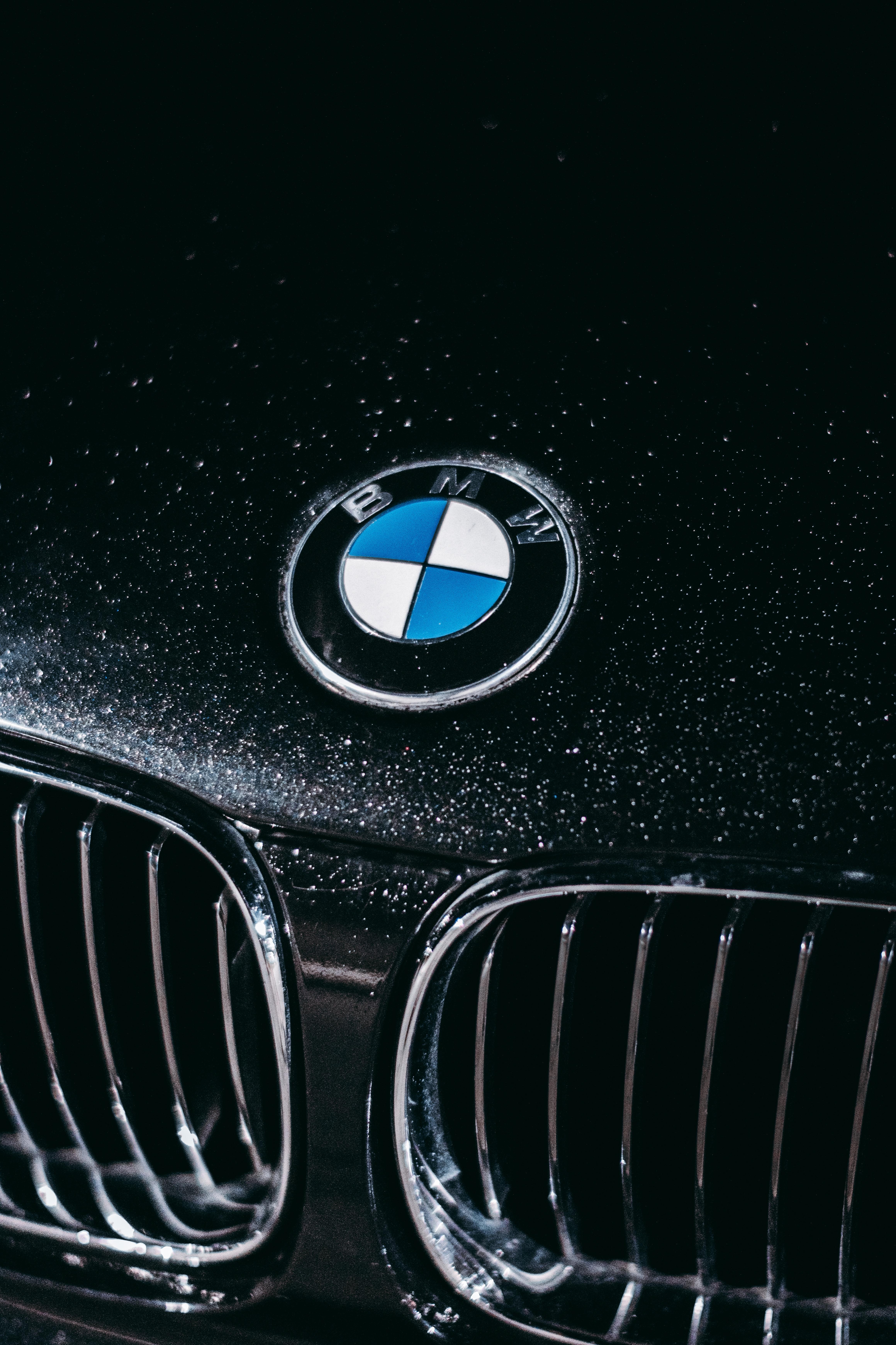 Bmw Car Logo On Black Car Free Stock Photo