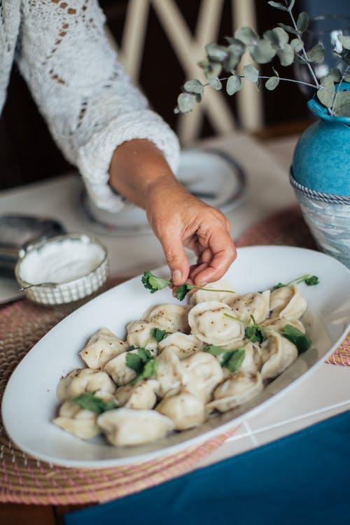 Dumplings On White Ceramic Plate