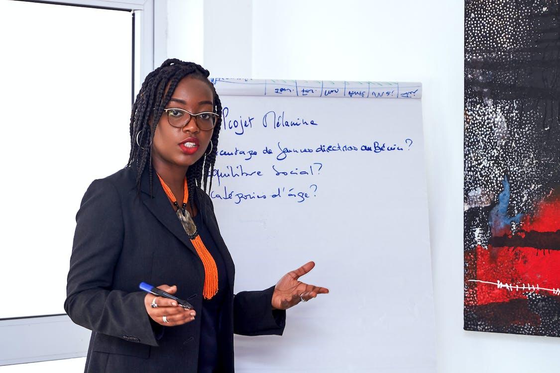 Woman In Black Blazer Talking