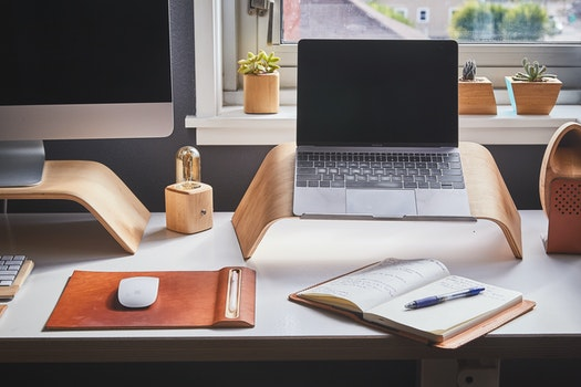 Free stock photo of wood, desk, laptop, notebook