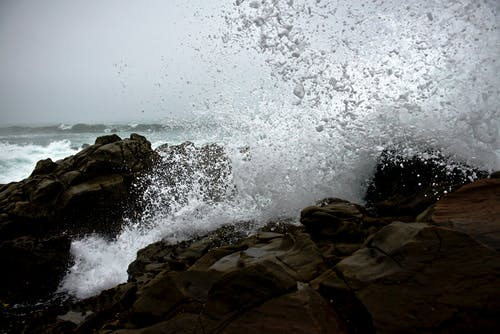 Sea Waves on Rocks