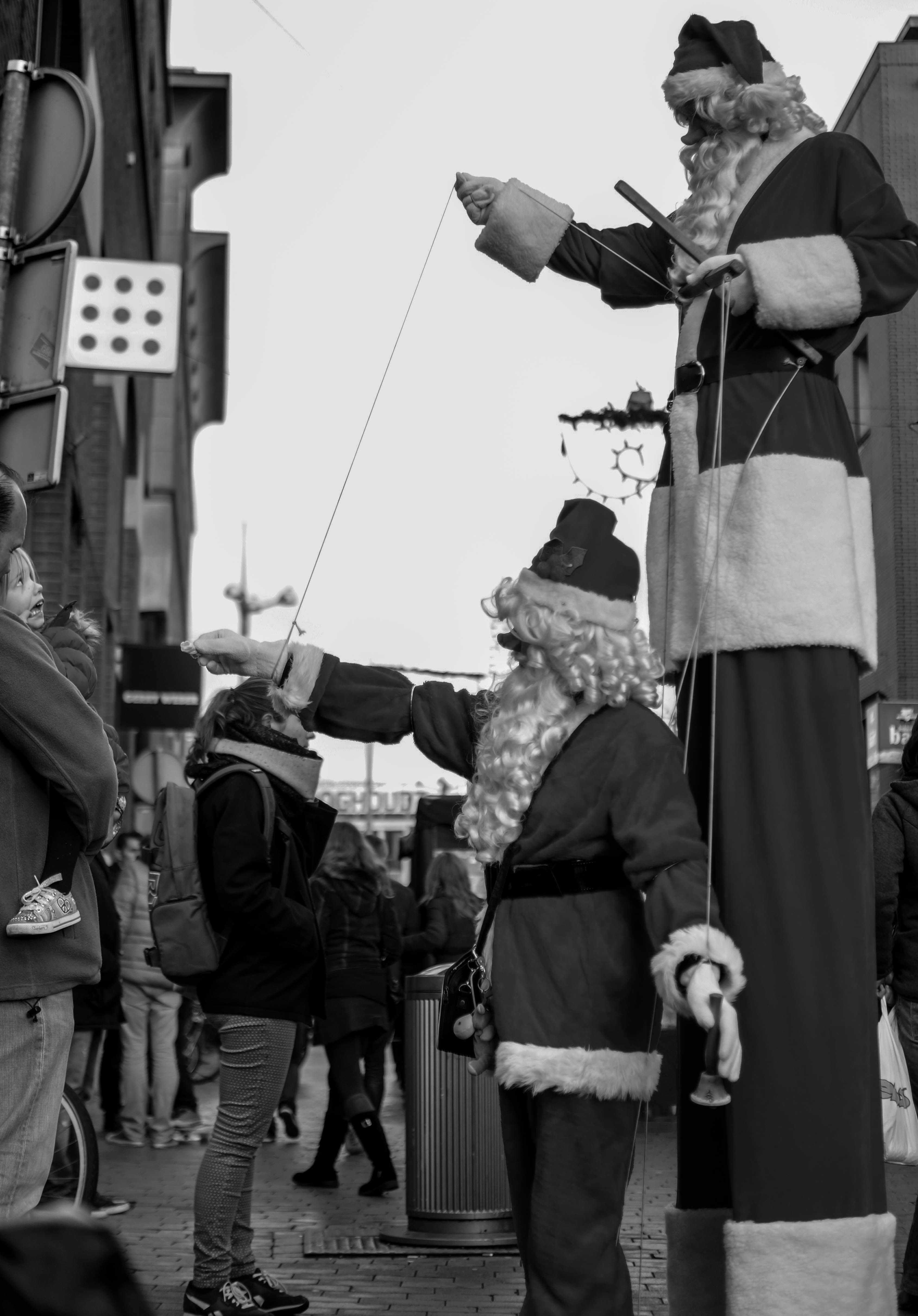 Grayscale of Santa Claus