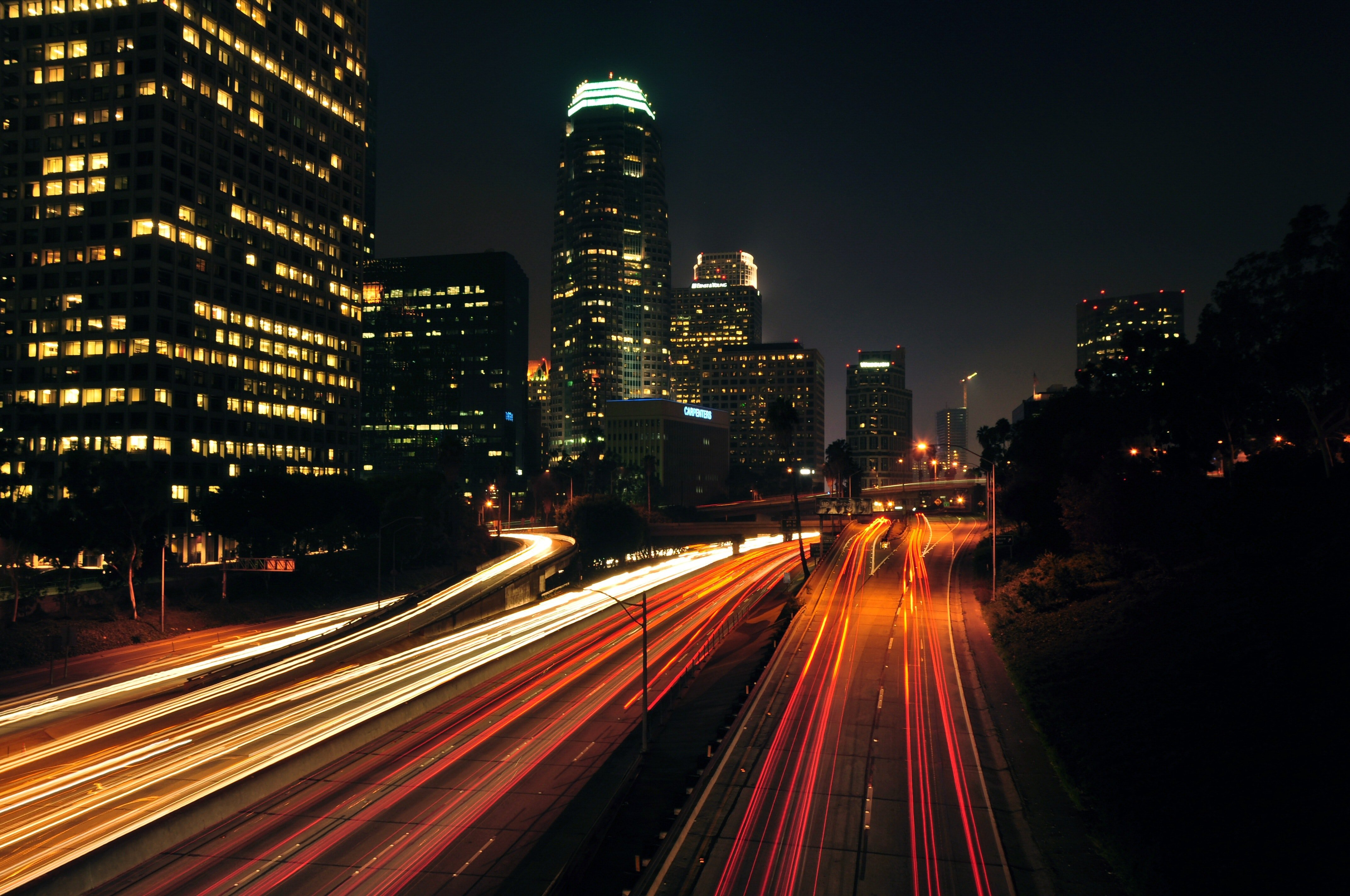 Light Trails on Highway at Night · Free Stock Photo