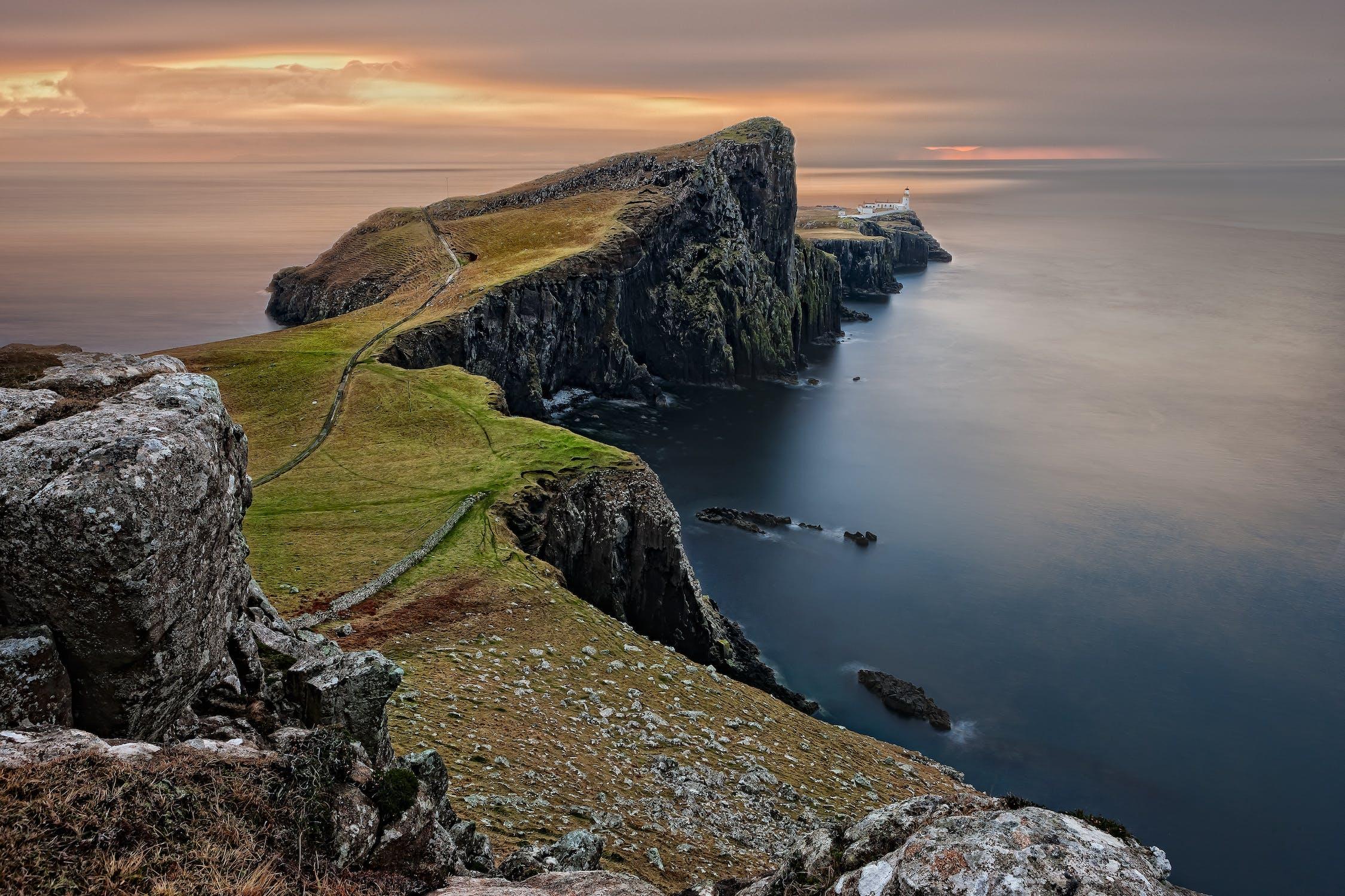 A picturesque Scottish coastline. One way to enjoy a Scottish Staycation.