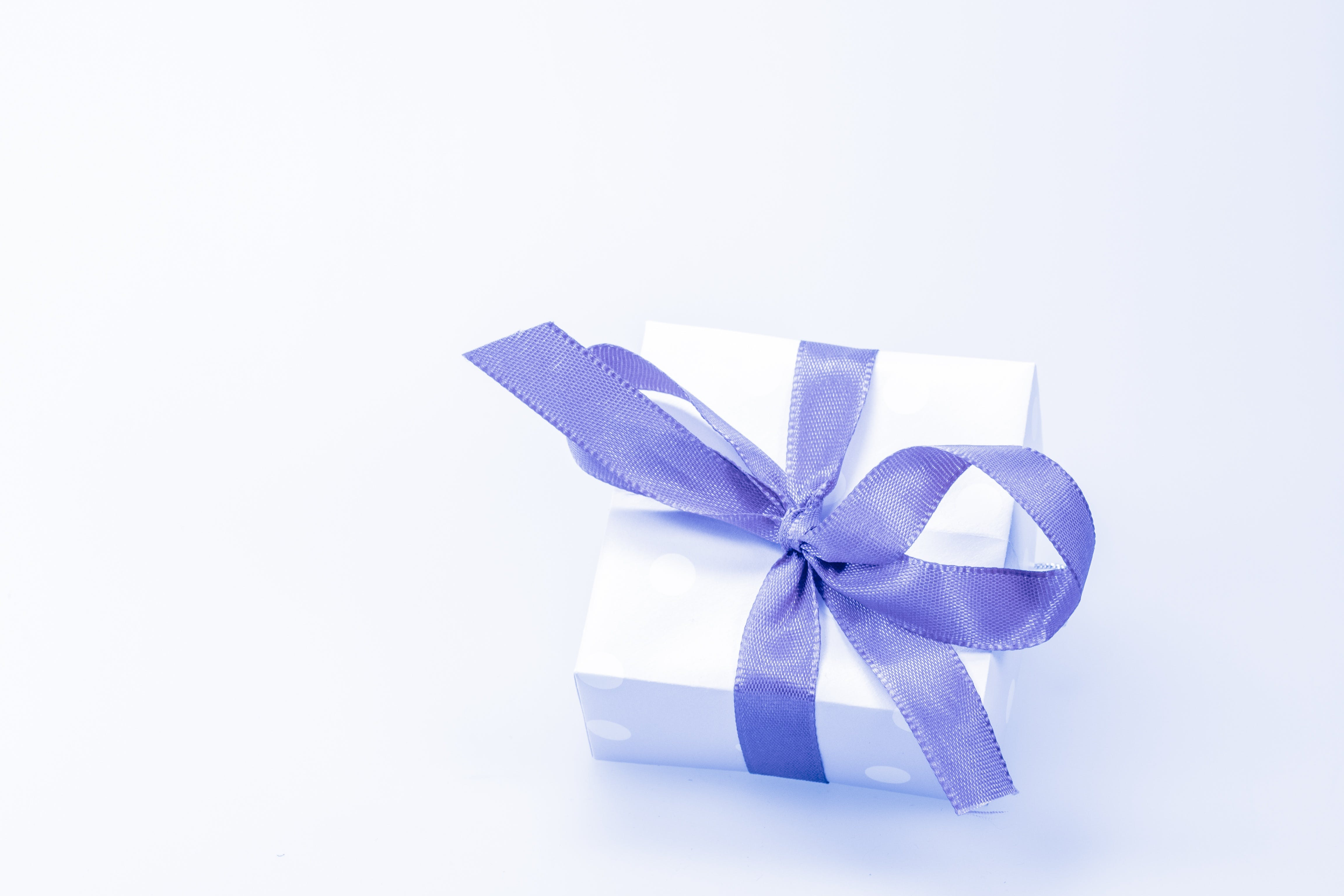 White Box With Purple Ribbon