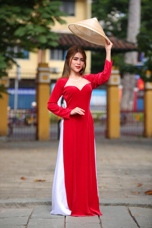 Woman In Red Long Sleeve Dress