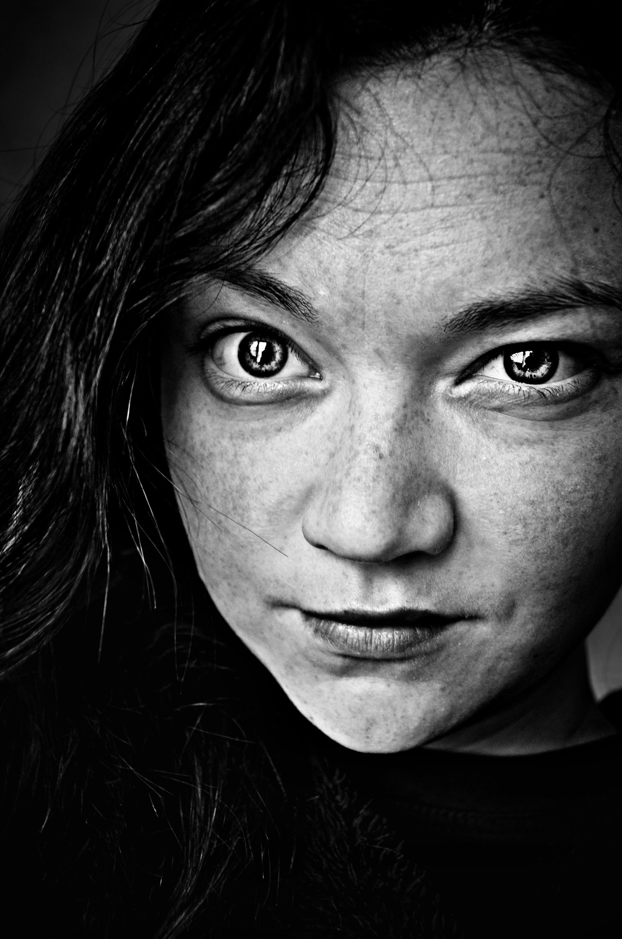 Woman Face Grayscale Photo