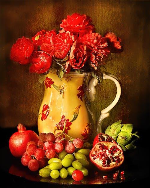 Бесплатное стоковое фото с банка, ваза, виноград, гранат