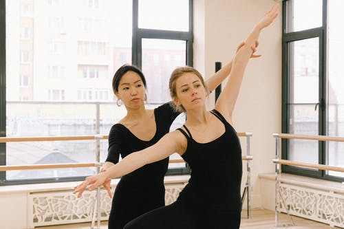 Women In Black Tops Doing Ballet