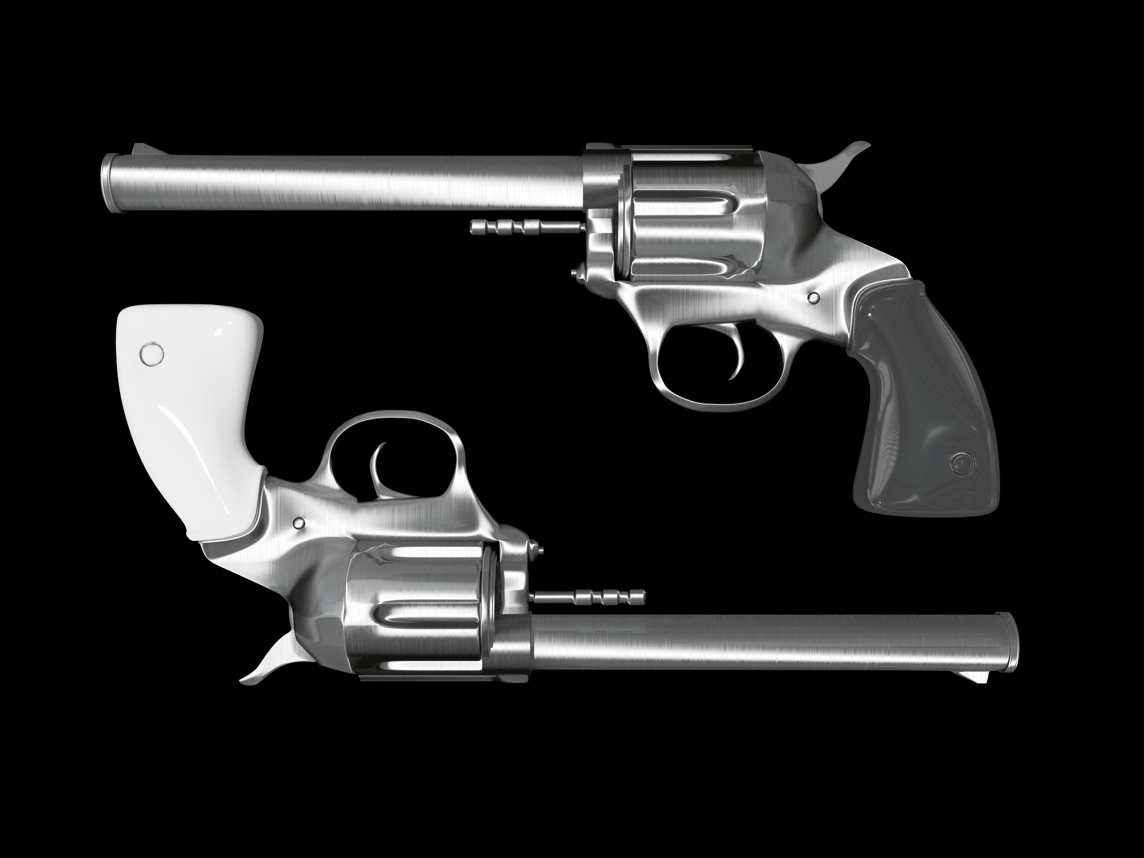 Gray Revolver Illustration