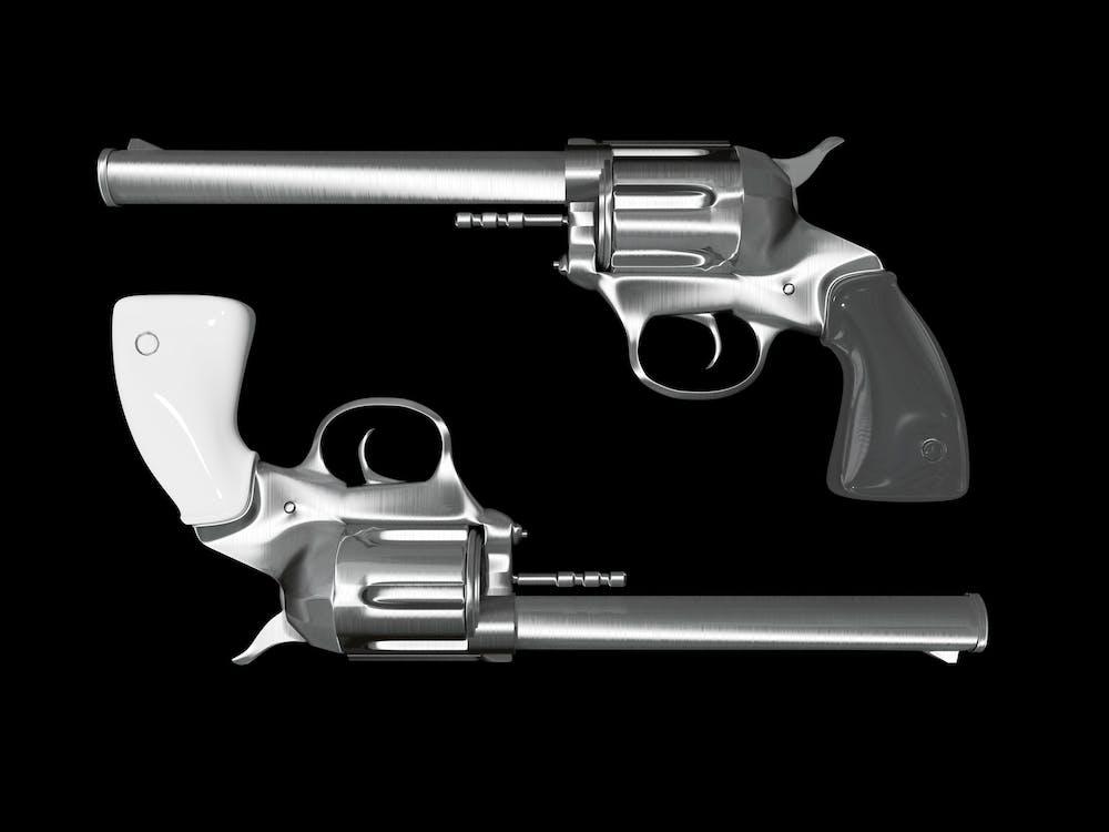 Gray Revolver Illustration