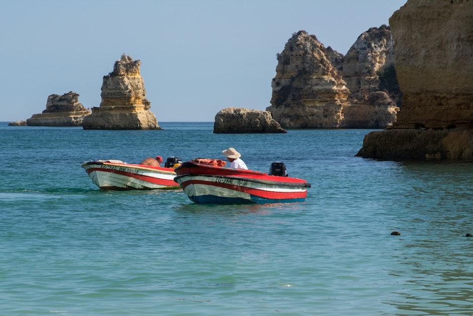 boat, cliff, fisherman